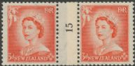 NZ Counter Coil Pair SG 727 1953 3d Queen Elizabeth II Join No. 15 (NCC/189)